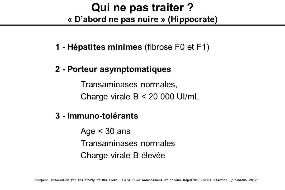 1 - Hépatites minimes (fibrose F0 et F1) 2 - Porteur asymptomatiques Transaminases normales, Charge virale B < 20 000 UI/mL 3 - Immuno-tolérants Age < 30 ans Transaminases normales Charge virale B élevée Qui ne pas traiter .