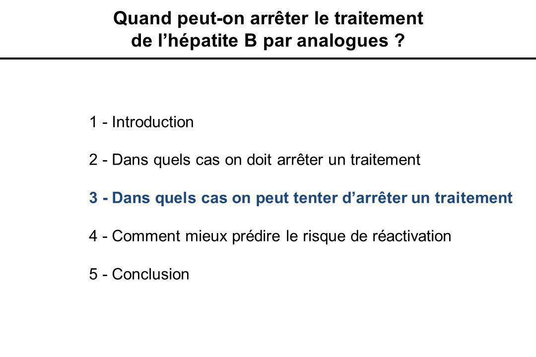 1 - Introduction 2 - Dans quels cas on doit arrêter un traitement 3 - Dans quels cas on peut tenter d'arrêter un traitement 4 - Comment mieux prédire le risque de réactivation 5 - Conclusion Quand peut-on arrêter le traitement de l'hépatite B par analogues ?