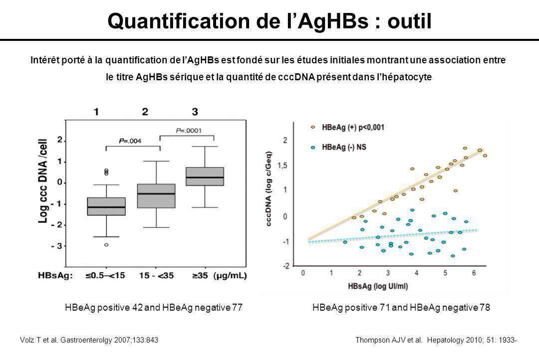 Intérêt porté à la quantification de l'AgHBs est fondé sur les études initiales montrant une association entre le titre AgHBs sérique et la quantité de cccDNA présent dans l'hépatocyte Volz T et al.