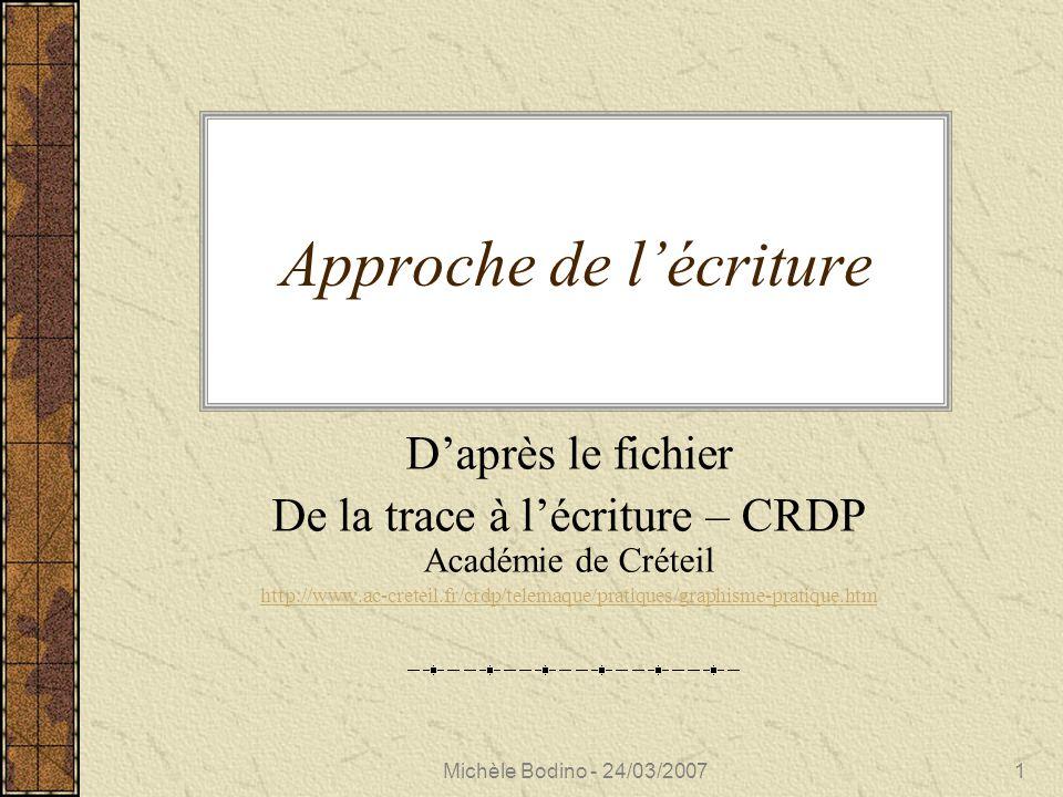 Michèle Bodino - 24/03/20071 Approche de l'écriture D'après le fichier De la trace à l'écriture – CRDP Académie de Créteil http://www.ac-creteil.fr/crdp/telemaque/pratiques/graphisme-pratique.htm