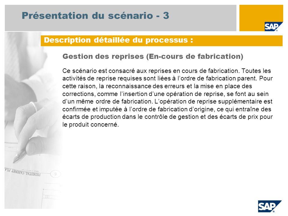 Présentation du scénario - 3 Gestion des reprises (En-cours de fabrication) Ce scénario est consacré aux reprises en cours de fabrication. Toutes les