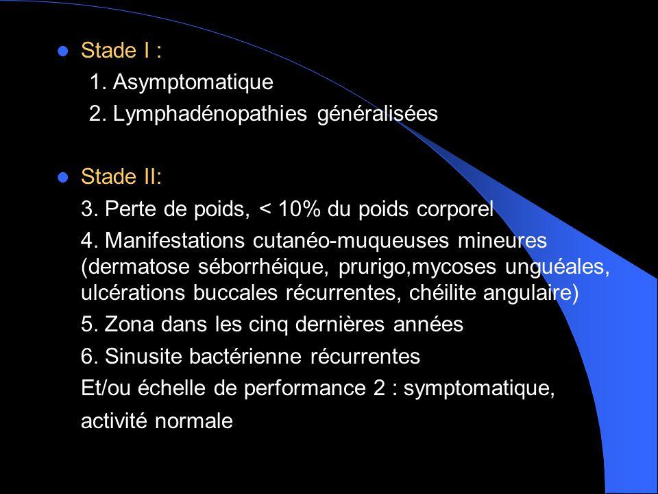  Stade I : 1.Asymptomatique 2. Lymphadénopathies généralisées  Stade II: 3.