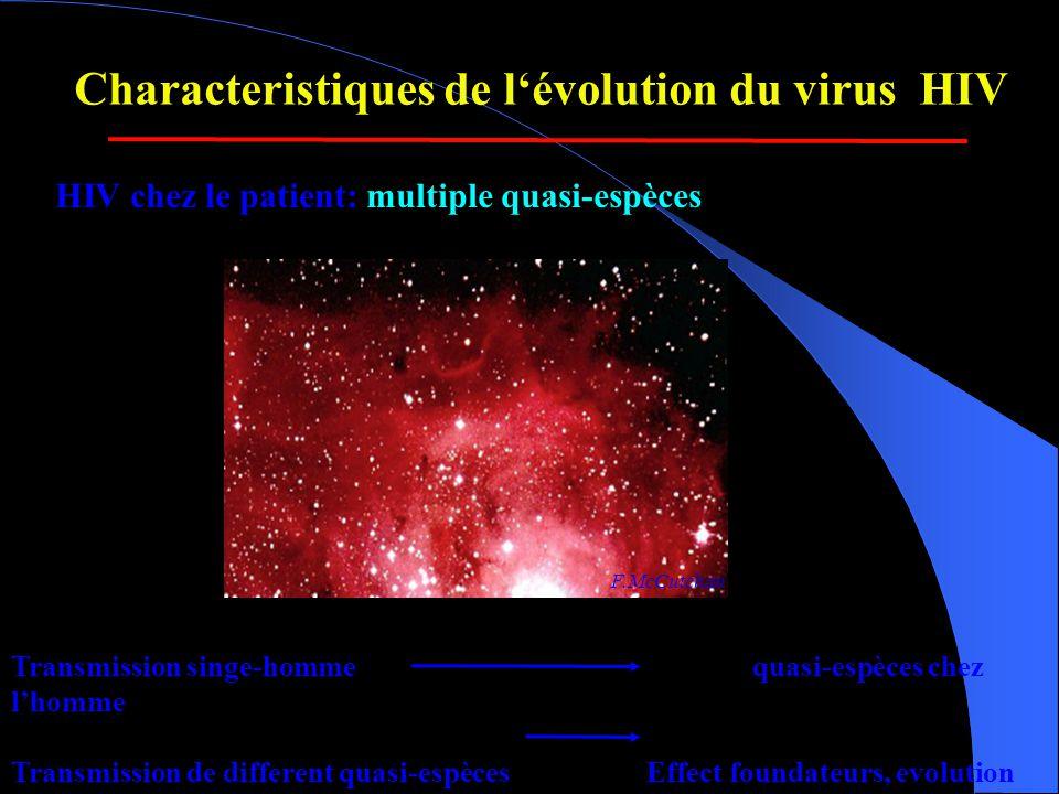 HIV chez le patient: multiple quasi-espèces F.McCutchan Characteristiques de l'évolution du virus HIV Transmission singe-hommequasi-espèces chez l'homme Transmission de different quasi-espècesEffect foundateurs, evolution