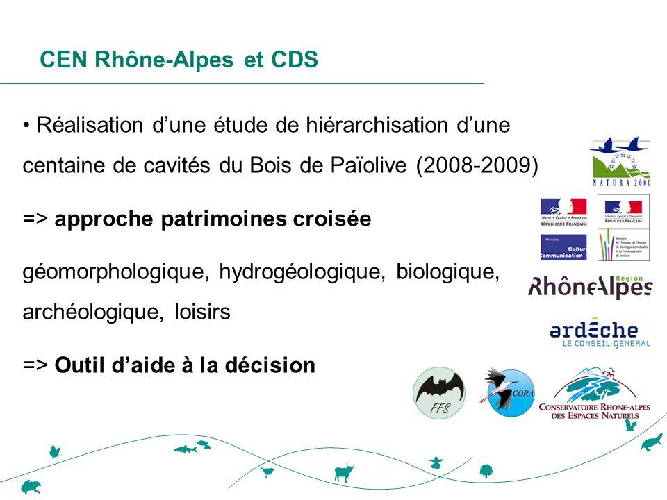 CEN Rhône-Alpes et CDS • Réalisation d'une étude de hiérarchisation d'une centaine de cavités du Bois de Païolive (2008-2009) => approche patrimoines