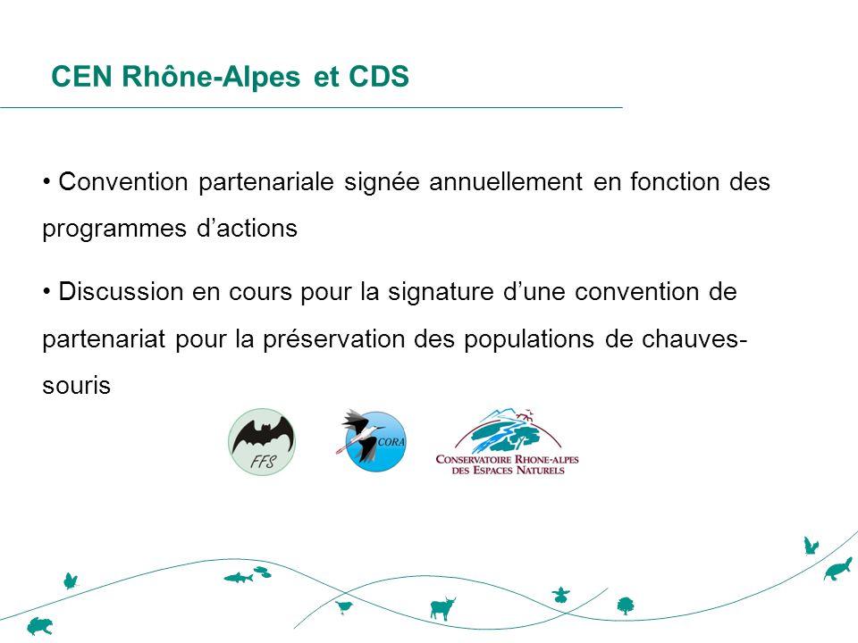 CEN Rhône-Alpes et CDS • Convention partenariale signée annuellement en fonction des programmes d'actions • Discussion en cours pour la signature d'un