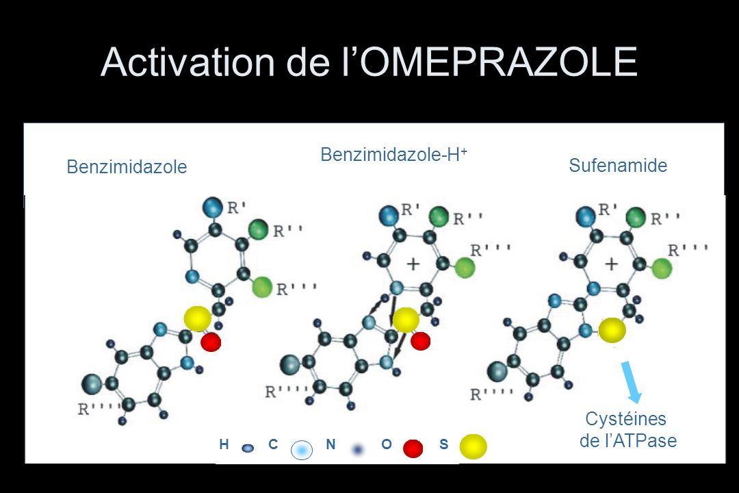 Sufenamide Benzimidazole Benzimidazole-H + Cystéines de l'ATPase HCNSO Activation de l'OMEPRAZOLE
