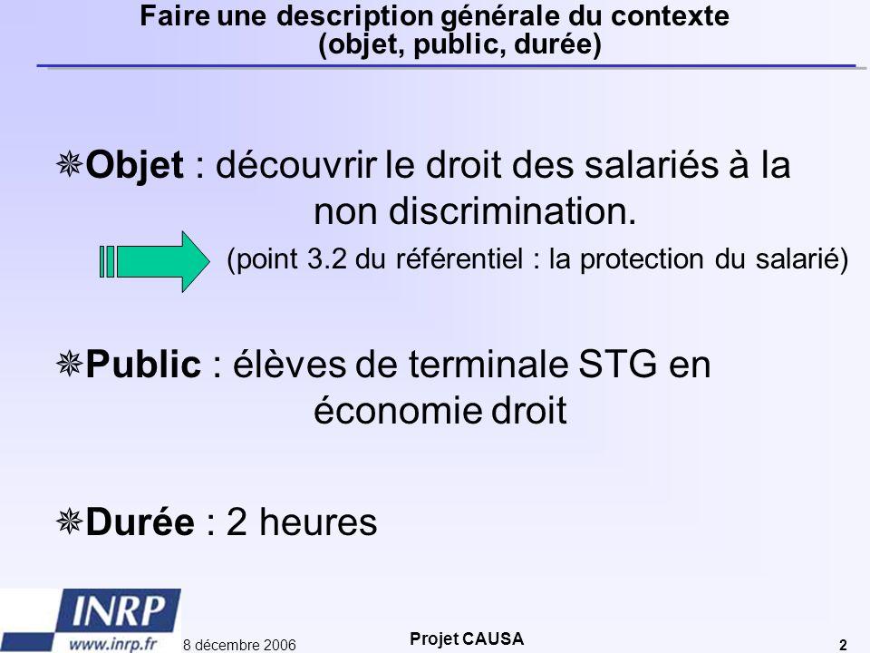 Projet CAUSA 8 décembre 20062 Faire une description générale du contexte (objet, public, durée)  Objet : découvrir le droit des salariés à la non dis