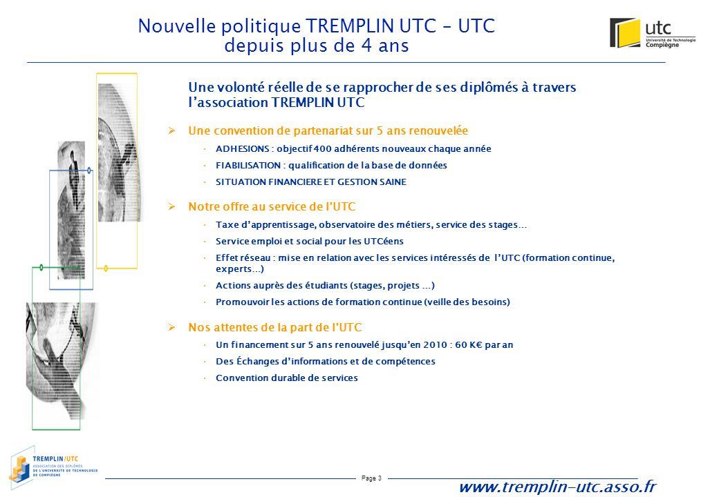 Page 3 Nouvelle politique TREMPLIN UTC – UTC depuis plus de 4 ans Une volonté réelle de se rapprocher de ses diplômés à travers l'association TREMPLIN
