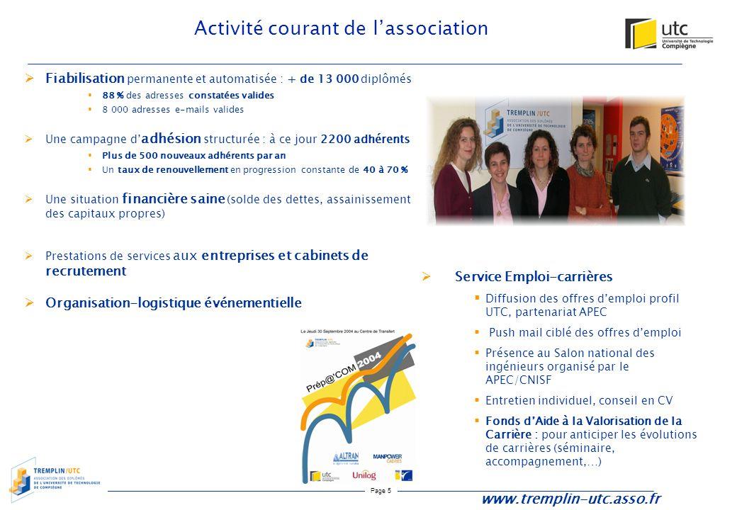 Page 5 Activité courant de l'association  Fiabilisation permanente et automatisée : + de 13 000 diplômés  88 % des adresses constatées valides  8 0