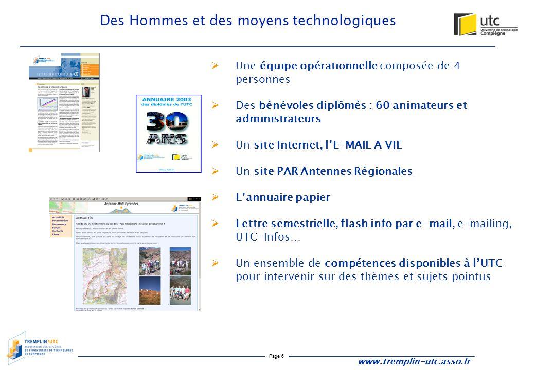 Page 6 Des Hommes et des moyens technologiques www.tremplin-utc.asso.fr  Une équipe opérationnelle composée de 4 personnes  Des bénévoles diplômés :