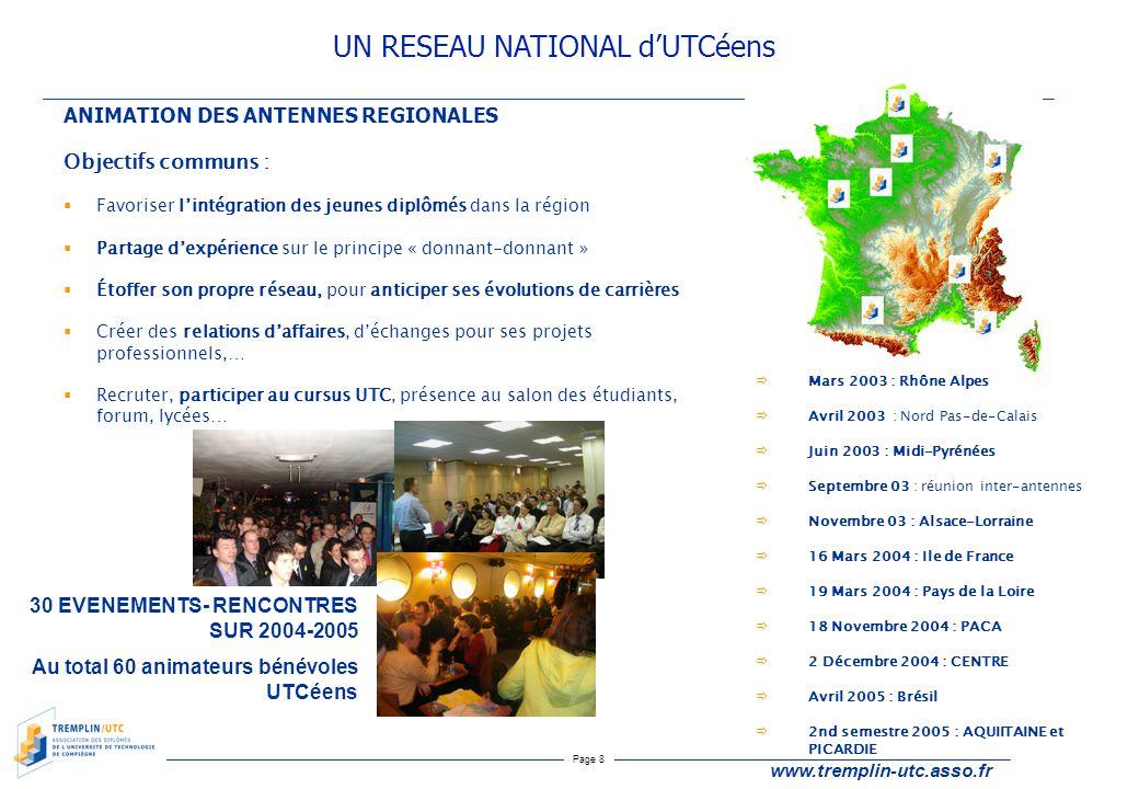 Page 8 www.tremplin-utc.asso.fr ANIMATION DES ANTENNES REGIONALES Objectifs communs :  Favoriser l'intégration des jeunes diplômés dans la région  P