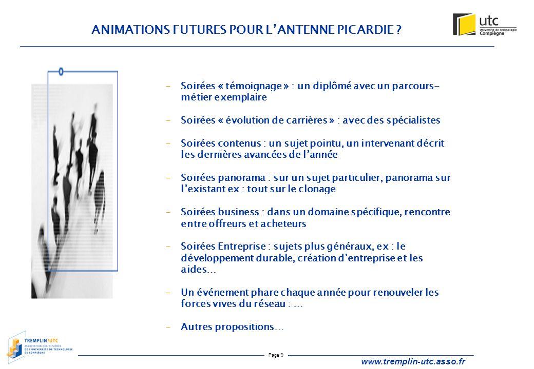 Page 9 ANIMATIONS FUTURES POUR L'ANTENNE PICARDIE ? www.tremplin-utc.asso.fr -Soirées « témoignage » : un diplômé avec un parcours- métier exemplaire