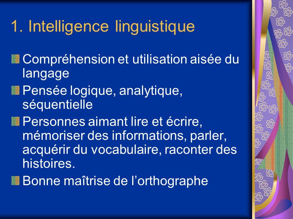 1. Intelligence linguistique Compréhension et utilisation aisée du langage Pensée logique, analytique, séquentielle Personnes aimant lire et écrire, m