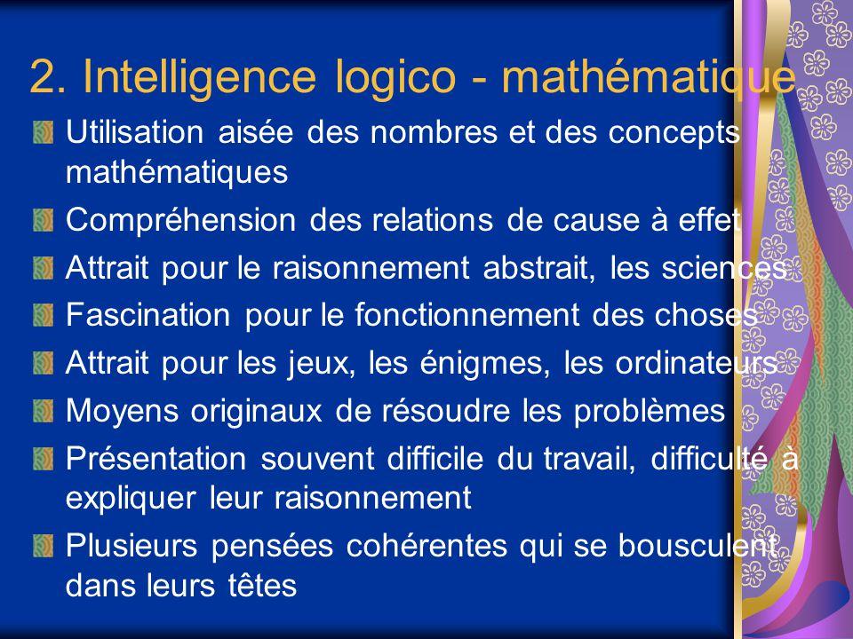 2. Intelligence logico - mathématique Utilisation aisée des nombres et des concepts mathématiques Compréhension des relations de cause à effet Attrait