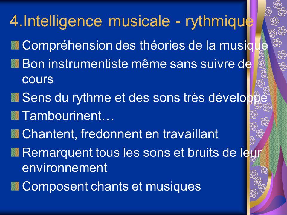 4.Intelligence musicale - rythmique Compréhension des théories de la musique Bon instrumentiste même sans suivre de cours Sens du rythme et des sons t
