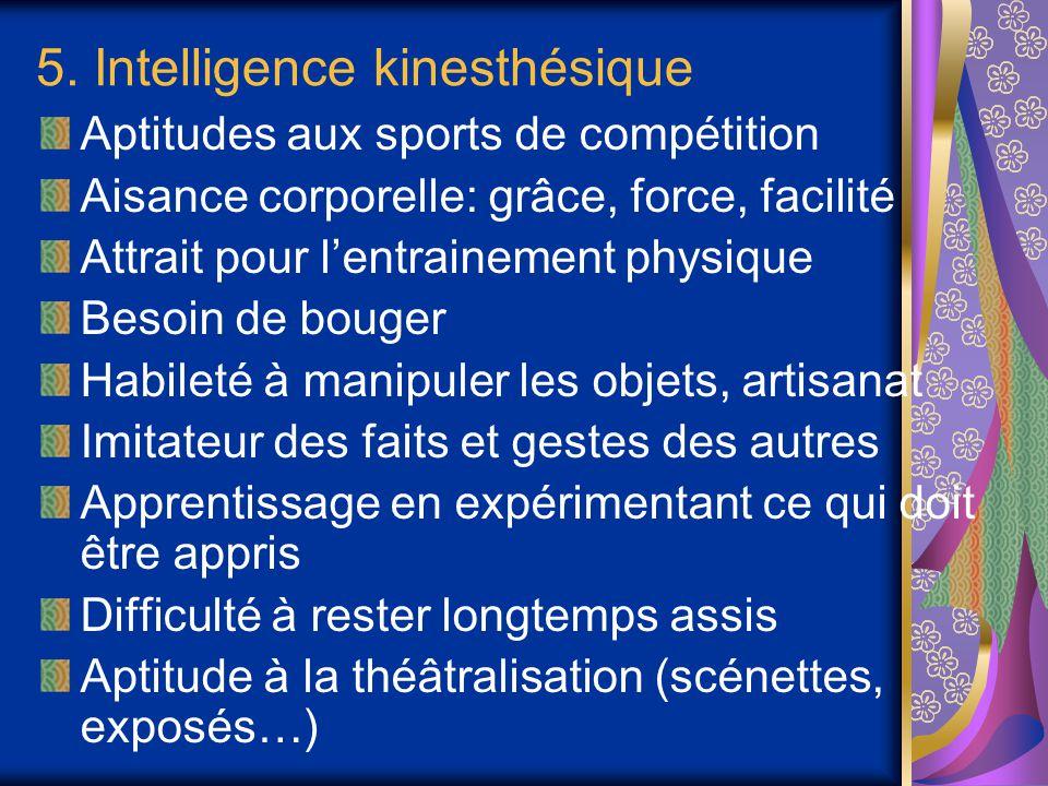 5. Intelligence kinesthésique Aptitudes aux sports de compétition Aisance corporelle: grâce, force, facilité Attrait pour l'entrainement physique Beso