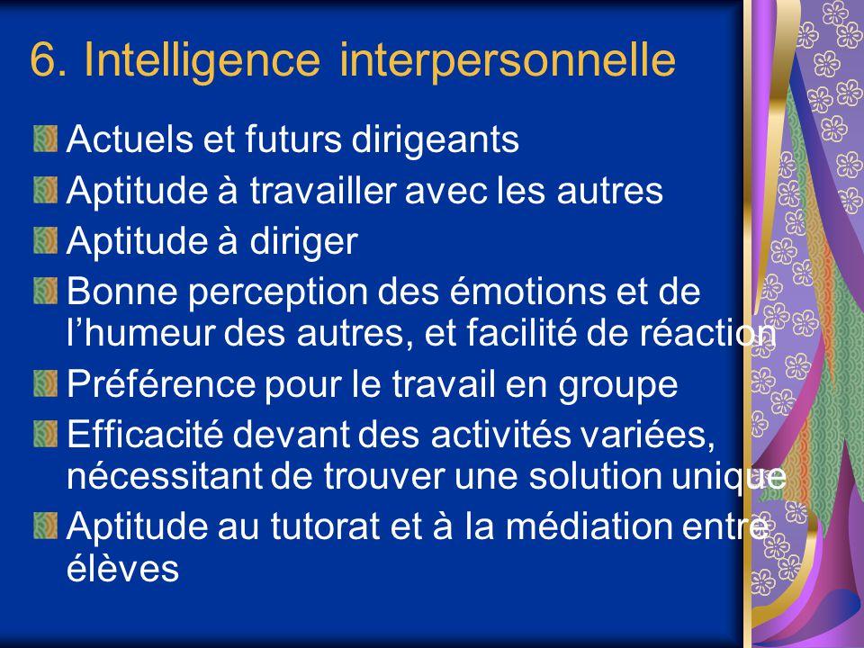 6. Intelligence interpersonnelle Actuels et futurs dirigeants Aptitude à travailler avec les autres Aptitude à diriger Bonne perception des émotions e