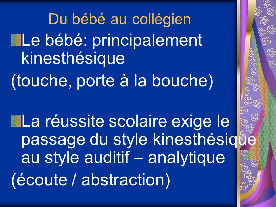 Du bébé au collégien Le bébé: principalement kinesthésique (touche, porte à la bouche) La réussite scolaire exige le passage du style kinesthésique au