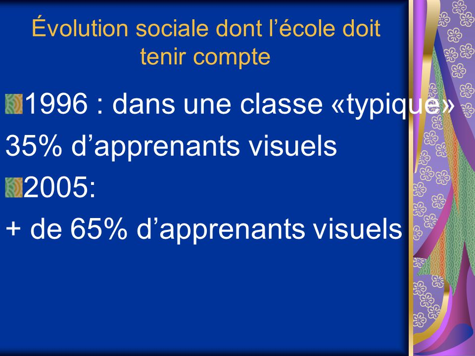 Évolution sociale dont l'école doit tenir compte 1996 : dans une classe «typique» 35% d'apprenants visuels 2005: + de 65% d'apprenants visuels