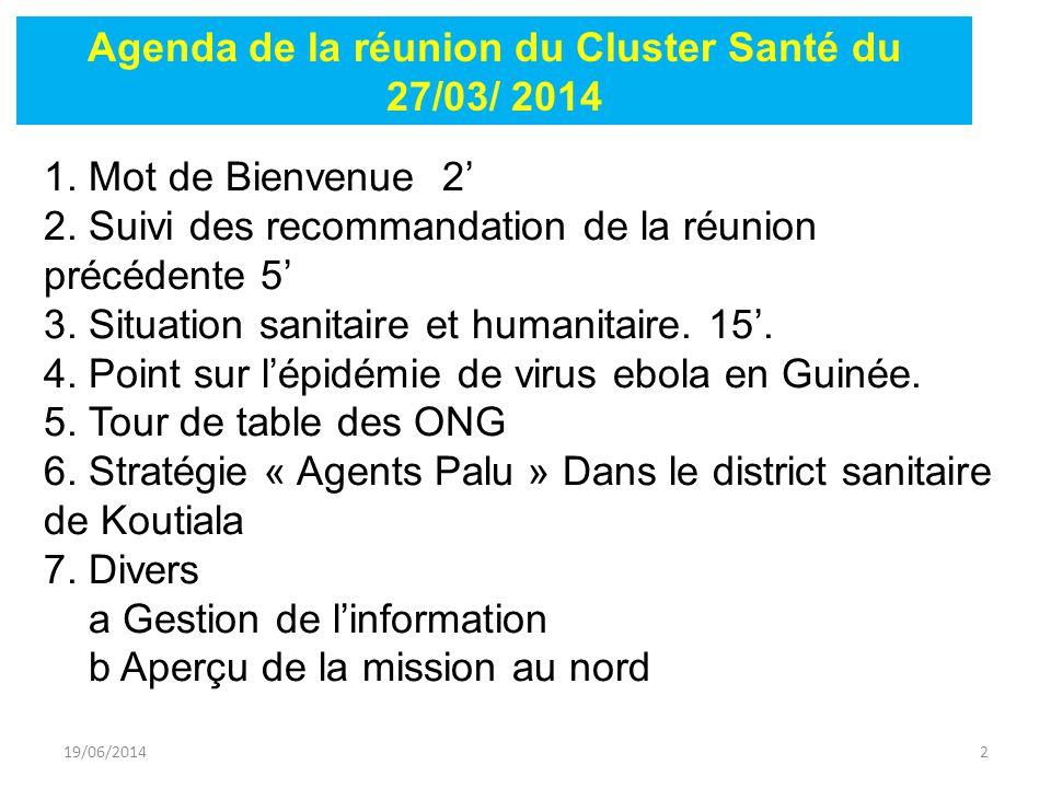 19/06/20143 ActionsEtat de mise en œuvre Concertation avec MDM pour la coordination de la mission humanitaire de l'OMS Réunion réalisée Concertation entre la CRM et LuxDev pour l'équipement des formations sanitaires.