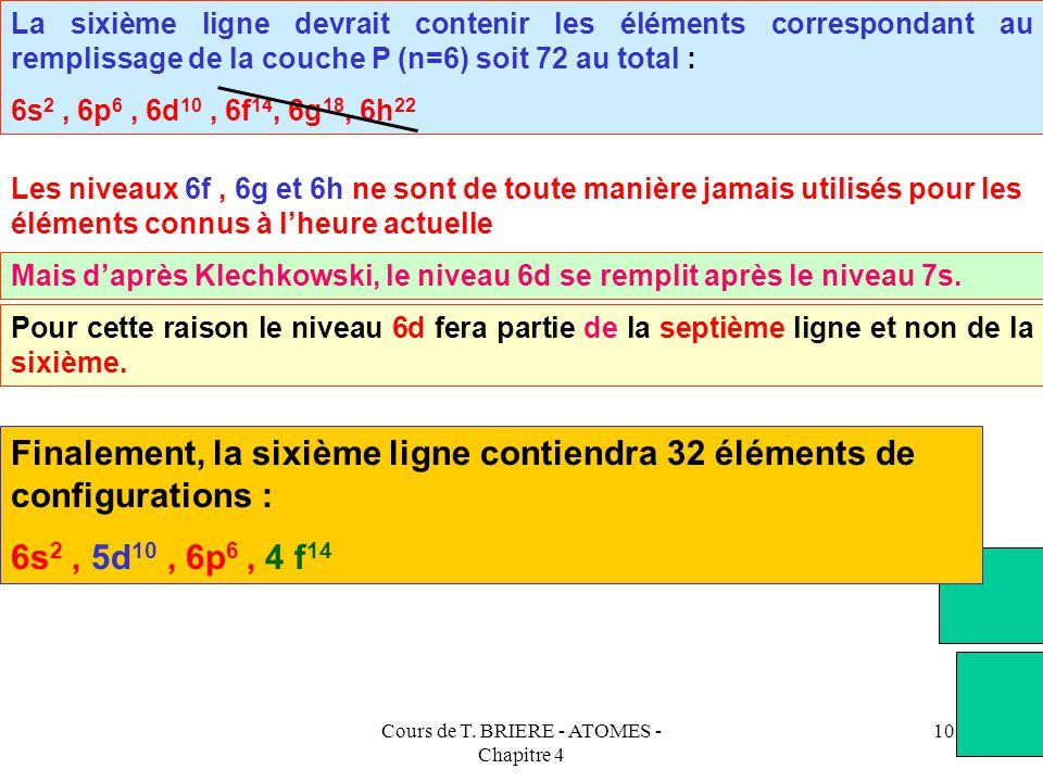 Cours de T. BRIERE - ATOMES - Chapitre 4 9 La cinquième ligne devrait contenir les éléments correspondant au remplissage de la couche O (n=5) soit 50