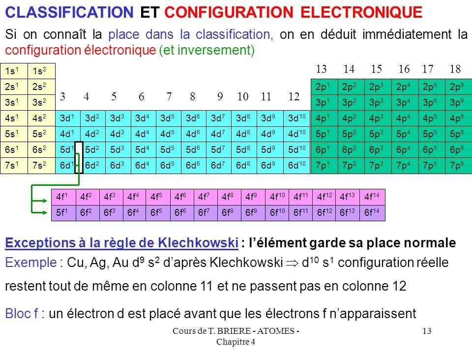 Cours de T. BRIERE - ATOMES - Chapitre 4 12 1s 1 1s 2 2s 1 2s 2 3s 1 3s 2 4s 1 4s 2 2p 1 2p 2 2p 3 2p 4 2p 5 2p 6 3p 1 3p 2 3p 3 3p 4 3p 5 3p 6 4p 1 4