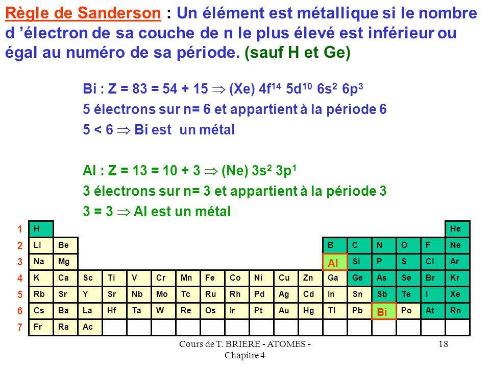 Cours de T. BRIERE - ATOMES - Chapitre 4 17 Règle de Sanderson : Un élément est métallique si le nombre d 'électron de sa couche de n le plus élevé es