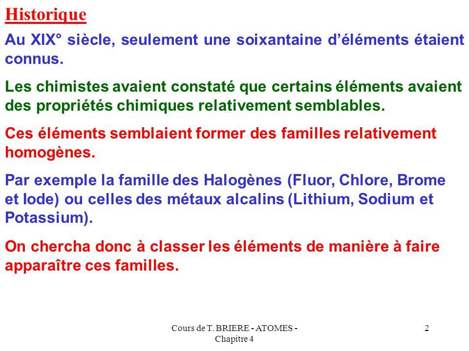 Cours de T. BRIERE - ATOMES - Chapitre 4 1 LA CLASSIFICATION PERIODIQUE DES ELEMENTS ou Classification de MENDELEIEV CHAPITRE 4