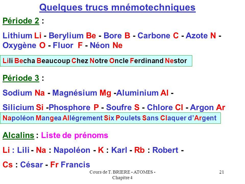 Cours de T. BRIERE - ATOMES - Chapitre 4 20 Classification périodique simplifiée 1 Ba Ra Be Mg Ca Sr Cs Fr Li Na K Rb H 2 Tl B Al Ga In Pb C Si Ge Sn