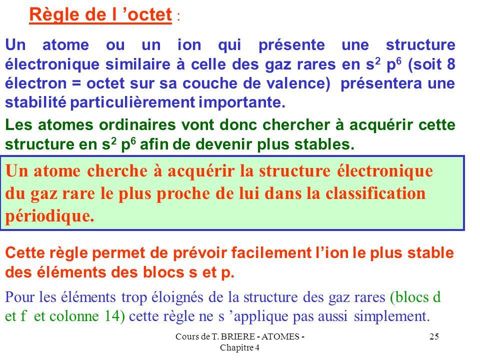 Cours de T. BRIERE - ATOMES - Chapitre 4 24 LA REGLE DE L'OCTET Cette grande stabilité est due à leur configuration électronique qui fait apparaître u