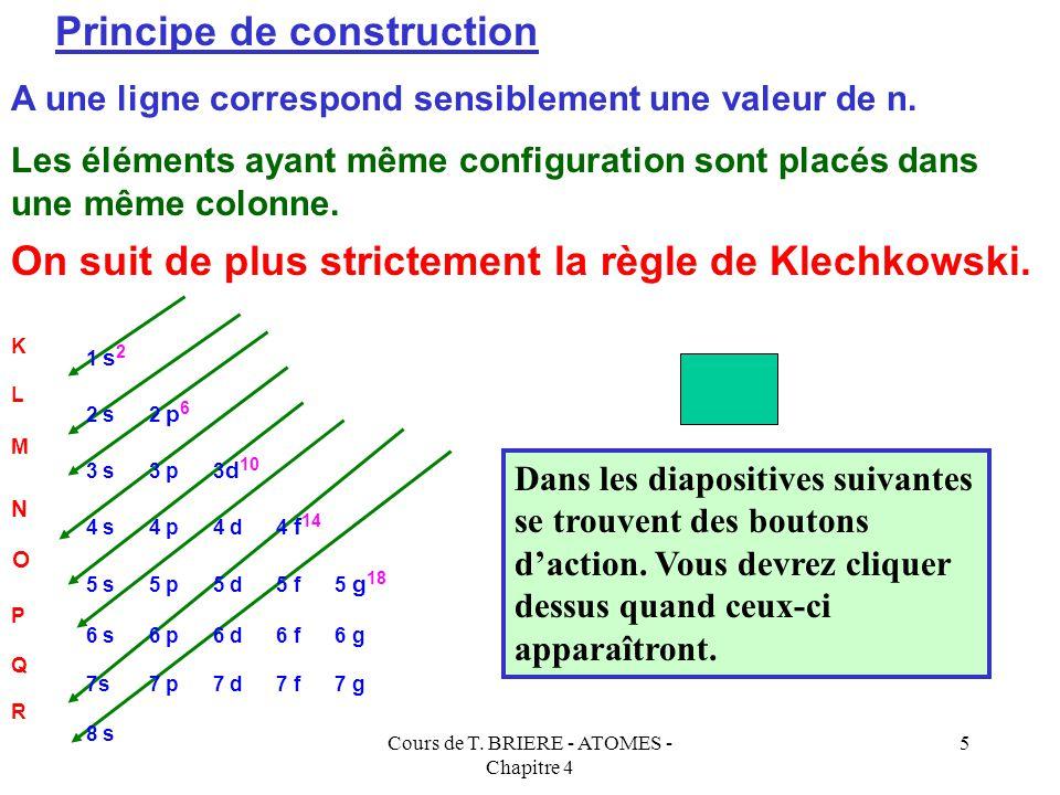 Cours de T. BRIERE - ATOMES - Chapitre 4 4 Le critère de classement des éléments n'est plus la masse atomique, mais le numéro atomique Z. On classe do