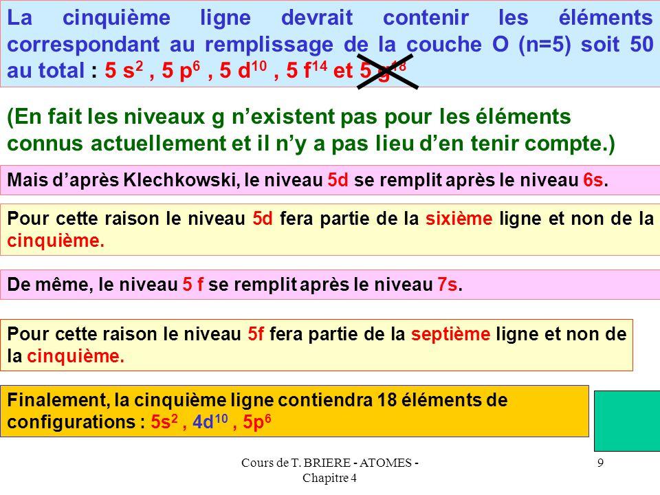 Cours de T. BRIERE - ATOMES - Chapitre 4 8 La quatrième ligne devrait contenir les éléments correspondant au remplissage de la couche N (n=4) soit 32