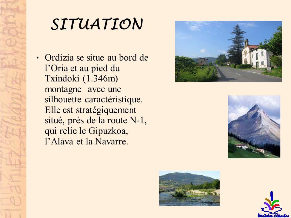 SITUATION • Ordizia se situe au bord de l'Oria et au pied du Txindoki (1.346m) montagne avec une silhouette caractéristique. Elle est stratégiquement