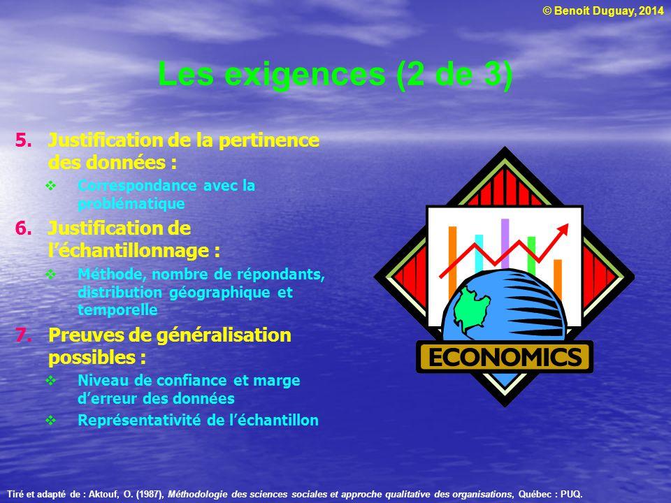 © Benoit Duguay, 2014 Les exigences (2 de 3) 5.Justification de la pertinence des données :  Correspondance avec la problématique 6.Justification de