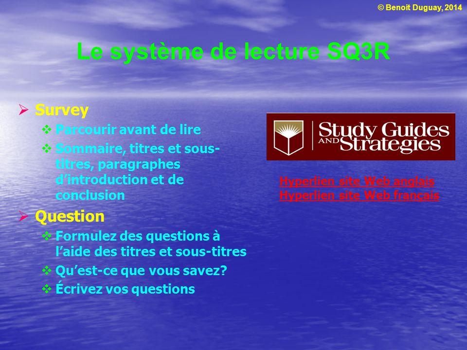 © Benoit Duguay, 2014 Le système de lecture SQ3R  Survey  Parcourir avant de lire  Sommaire, titres et sous- titres, paragraphes d'introduction et