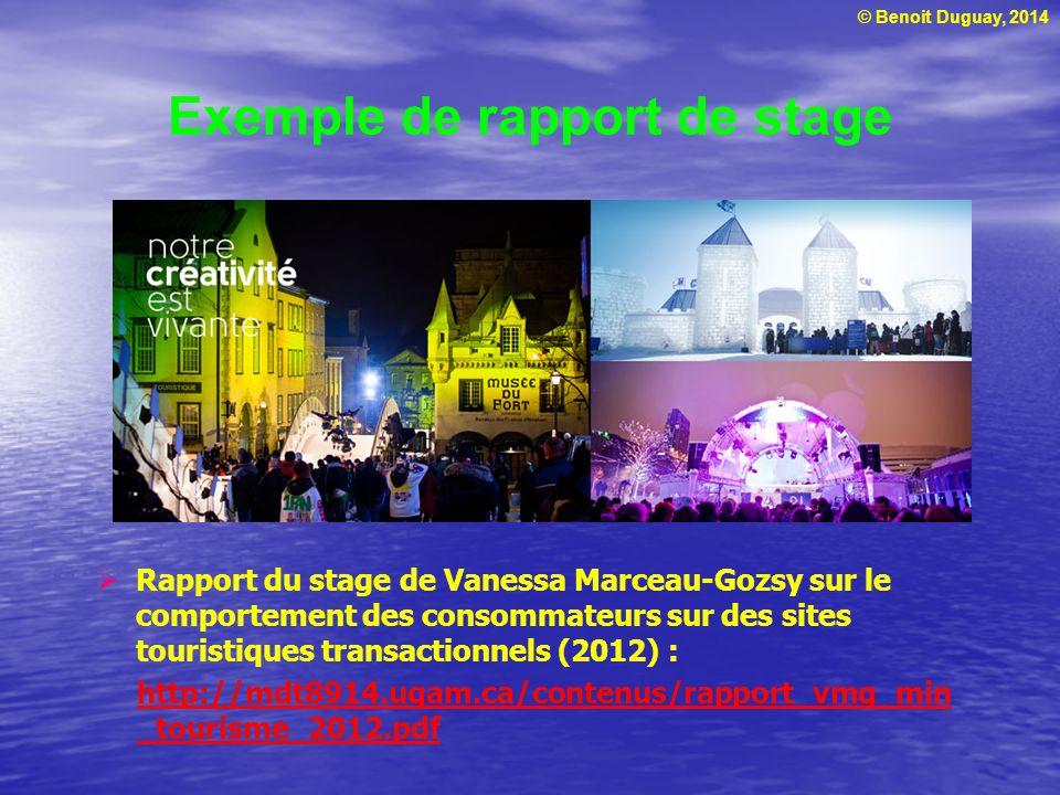© Benoit Duguay, 2014 Exemple de rapport de stage  Rapport du stage de Vanessa Marceau-Gozsy sur le comportement des consommateurs sur des sites tour