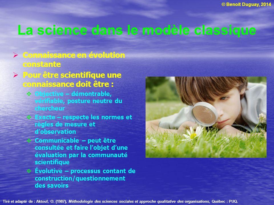 © Benoit Duguay, 2014 La science dans le modèle classique  Connaissance en évolution constante  Pour être scientifique une connaissance doit être :
