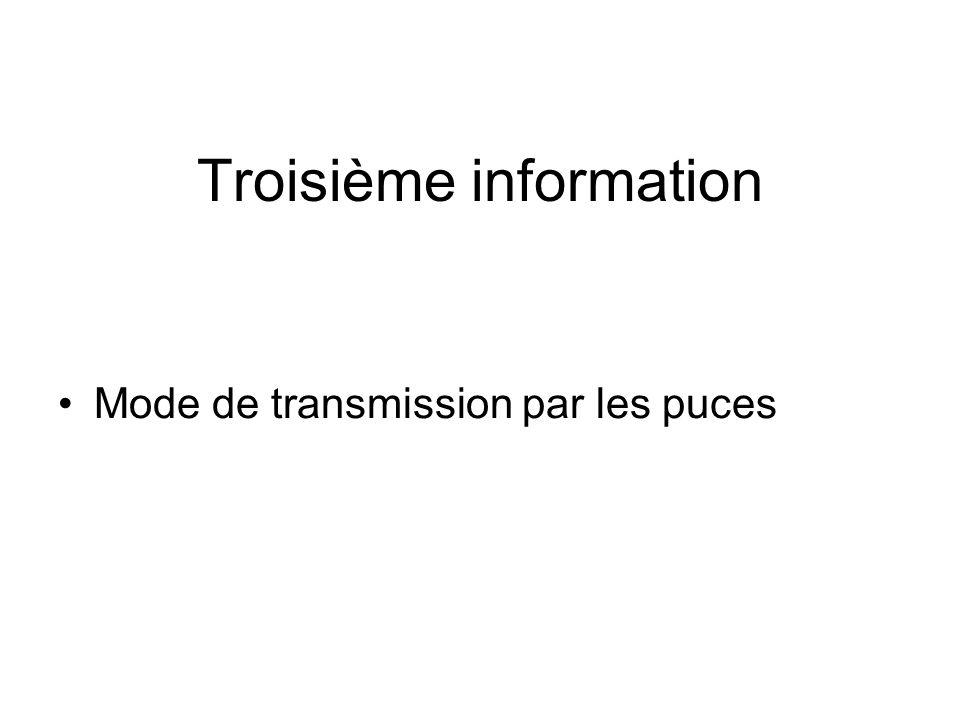 Troisième information •Mode de transmission par les puces