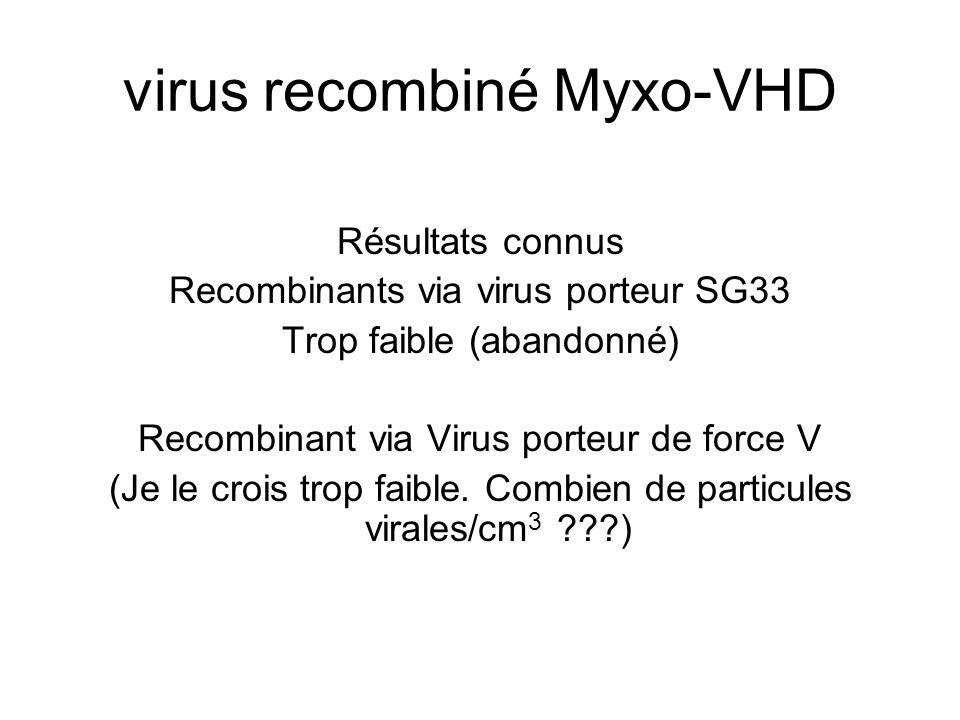virus recombiné Myxo-VHD Résultats connus Recombinants via virus porteur SG33 Trop faible (abandonné) Recombinant via Virus porteur de force V (Je le crois trop faible.