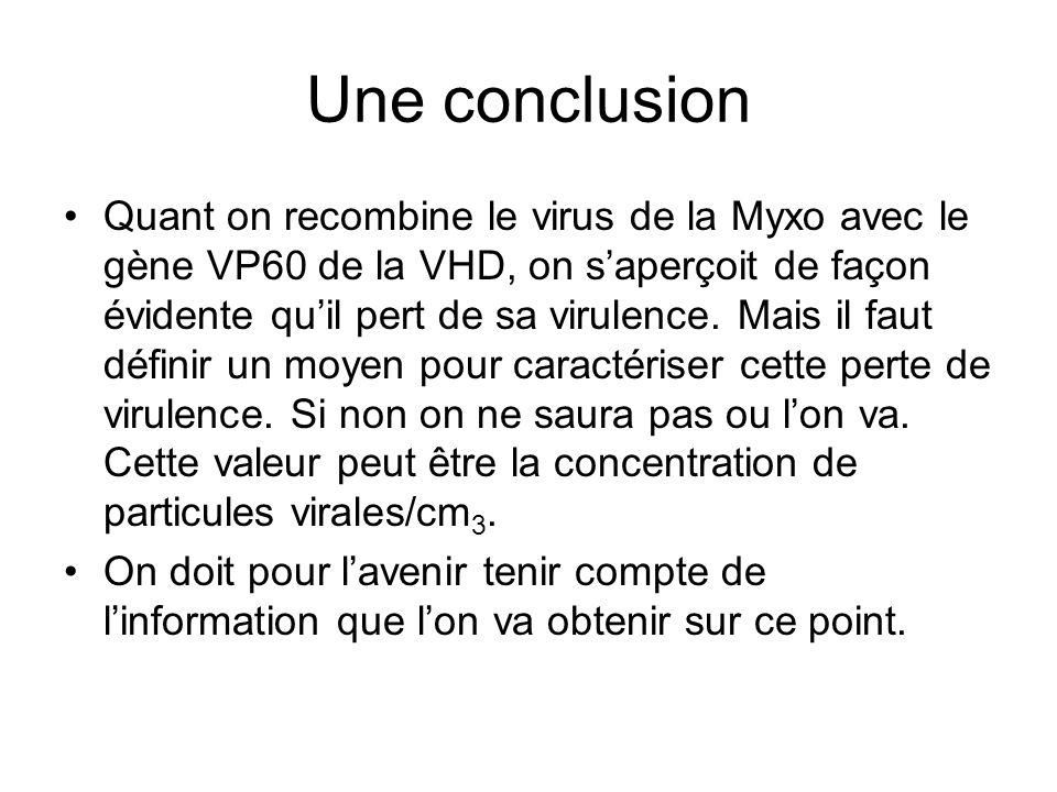 Une conclusion •Quant on recombine le virus de la Myxo avec le gène VP60 de la VHD, on s'aperçoit de façon évidente qu'il pert de sa virulence.