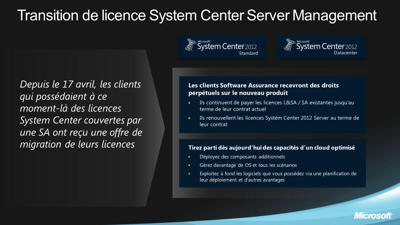 Transition de licence System Center Server Management Les clients Software Assurance recevront des droits perpétuels sur le nouveau produit  Ils cont