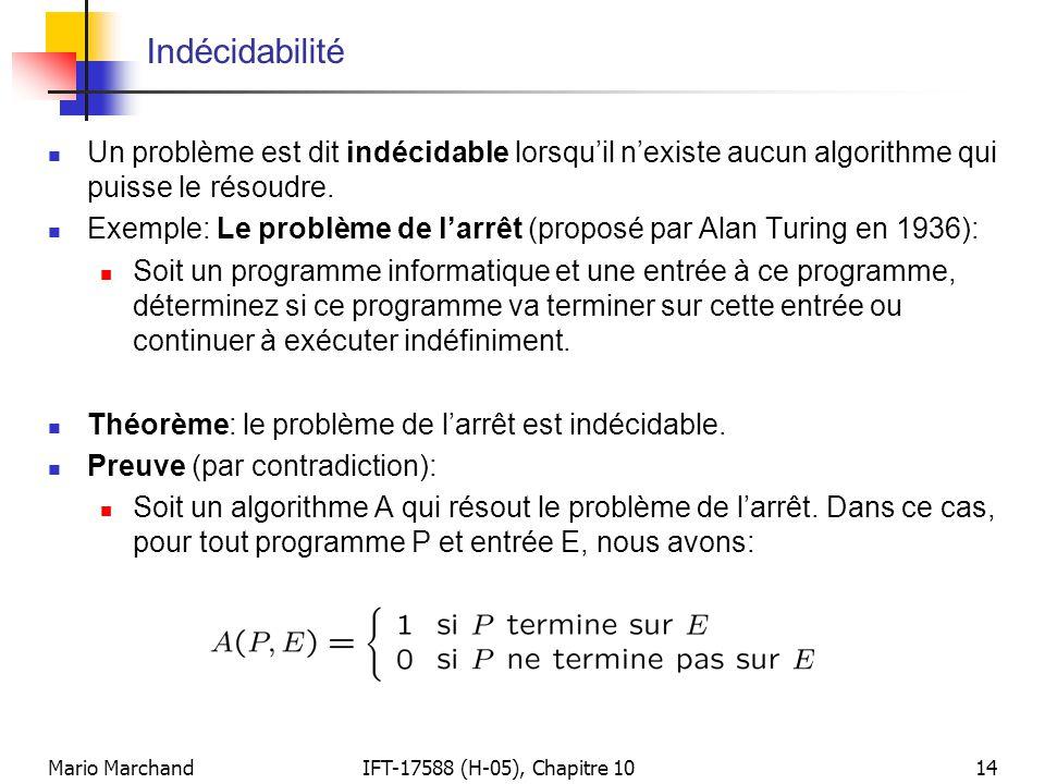 Mario MarchandIFT-17588 (H-05), Chapitre 1014 Indécidabilité  Un problème est dit indécidable lorsqu'il n'existe aucun algorithme qui puisse le résou