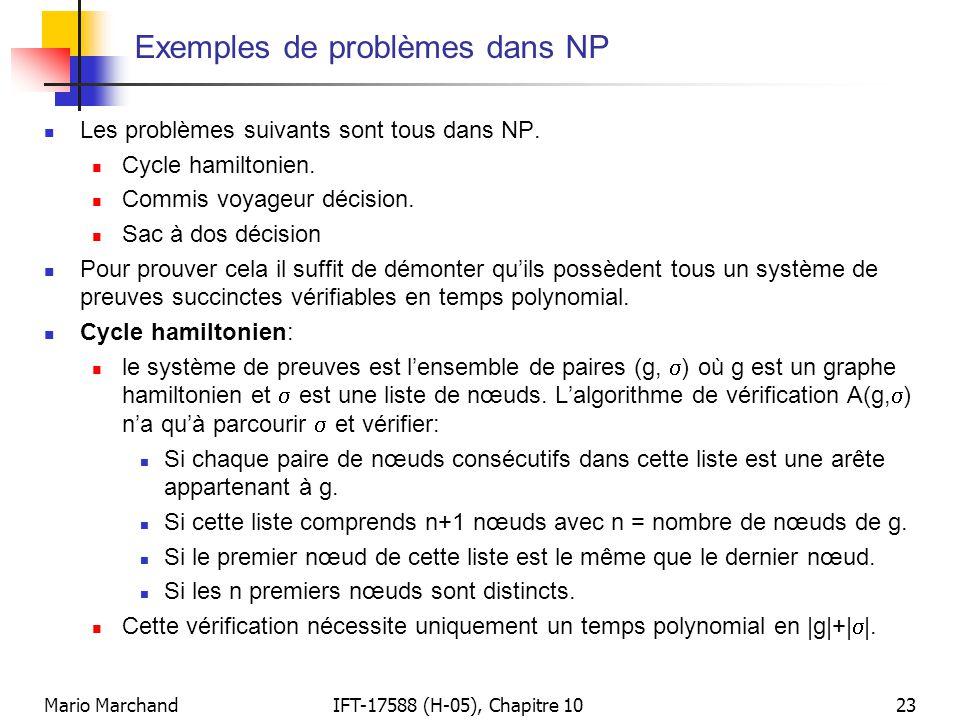 Mario MarchandIFT-17588 (H-05), Chapitre 1023 Exemples de problèmes dans NP  Les problèmes suivants sont tous dans NP.  Cycle hamiltonien.  Commis