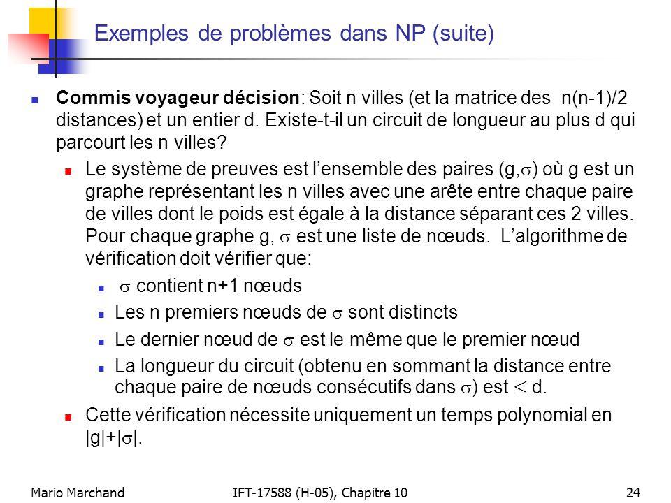 Mario MarchandIFT-17588 (H-05), Chapitre 1024 Exemples de problèmes dans NP (suite)  Commis voyageur décision: Soit n villes (et la matrice des n(n-1