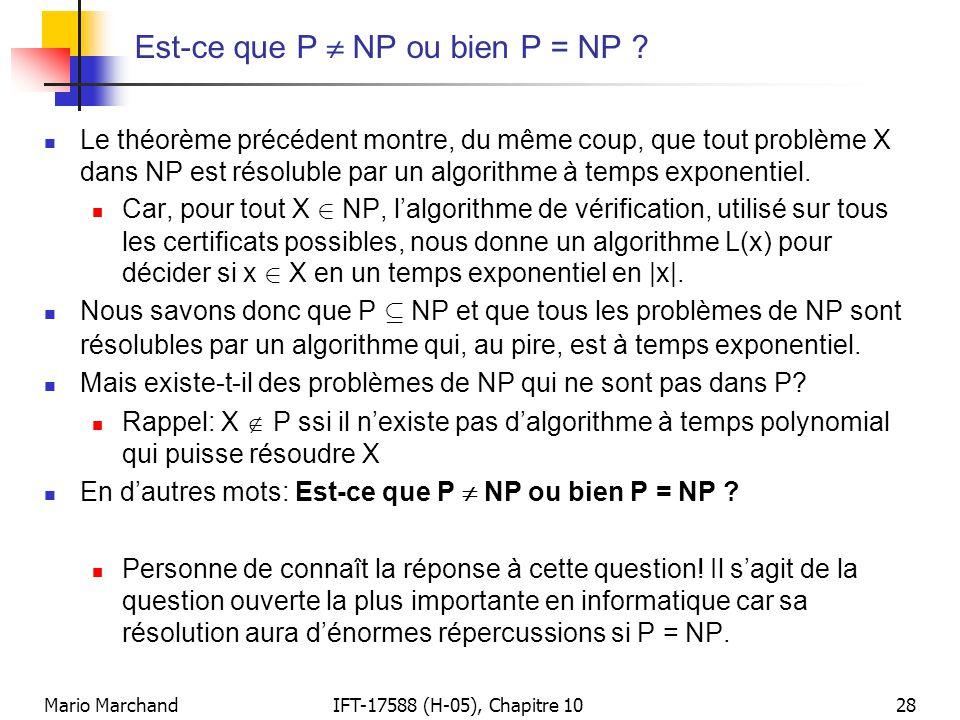 Mario MarchandIFT-17588 (H-05), Chapitre 1028 Est-ce que P  NP ou bien P = NP ?  Le théorème précédent montre, du même coup, que tout problème X dan