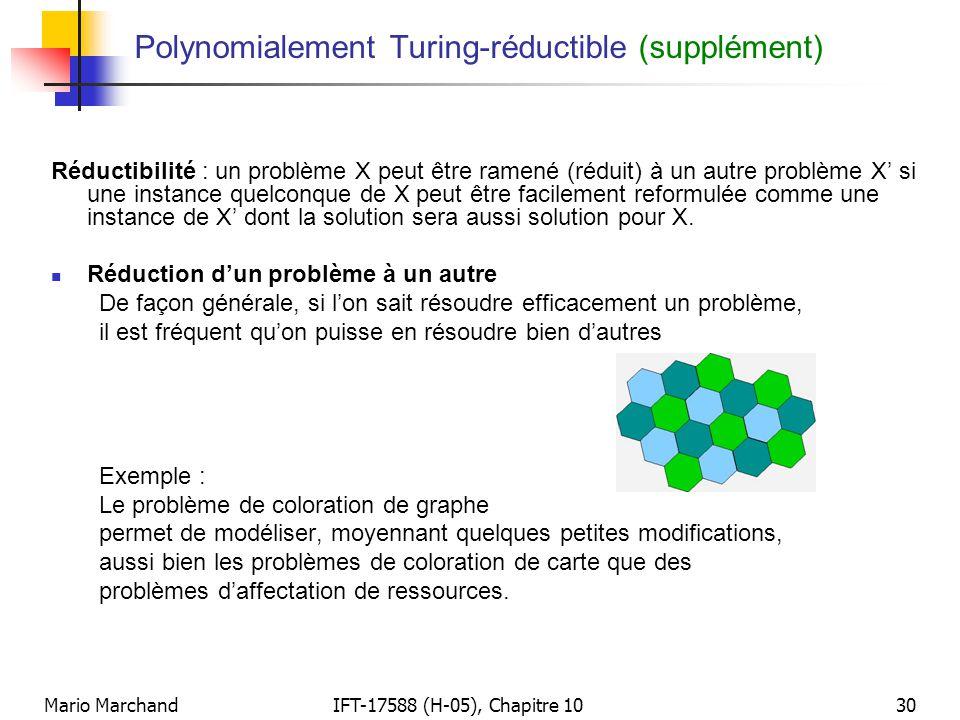 Mario MarchandIFT-17588 (H-05), Chapitre 1030 Polynomialement Turing-réductible (supplément) Réductibilité : un problème X peut être ramené (réduit) à