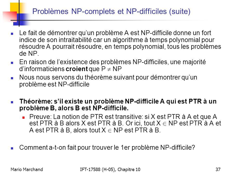Mario MarchandIFT-17588 (H-05), Chapitre 1037 Problèmes NP-complets et NP-difficiles (suite)  Le fait de démontrer qu'un problème A est NP-difficile