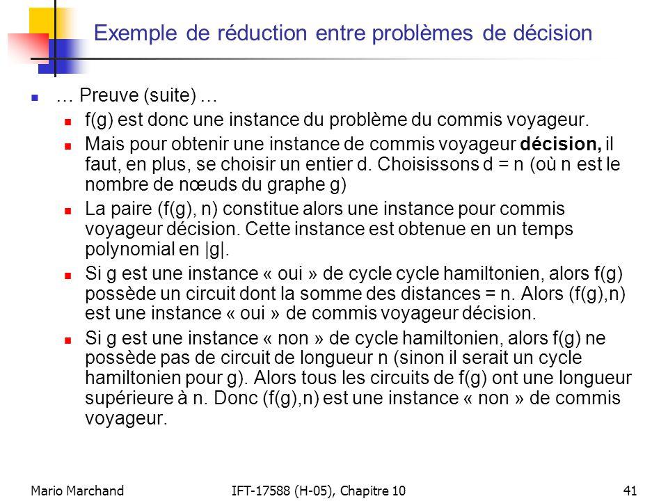 Mario MarchandIFT-17588 (H-05), Chapitre 1041 Exemple de réduction entre problèmes de décision  … Preuve (suite) …  f(g) est donc une instance du pr