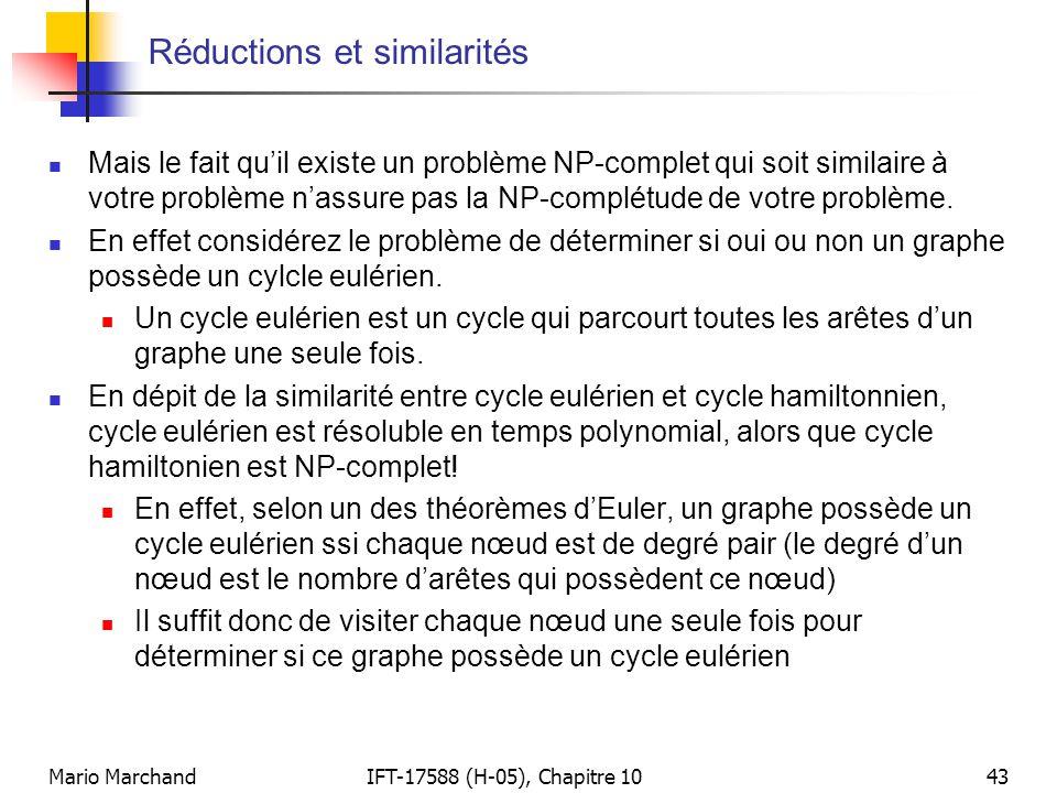 Mario MarchandIFT-17588 (H-05), Chapitre 1043 Réductions et similarités  Mais le fait qu'il existe un problème NP-complet qui soit similaire à votre