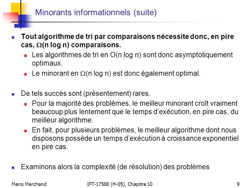 Mario MarchandIFT-17588 (H-05), Chapitre 1010 Algorithmes à temps polynomial  Nous disons qu'un algorithme solutionne un problème en temps polynomial lorsque son temps d'exécution, en pire cas pour toute instance de taille n, est 2 O(p(n)) où p(n) désigne une fonction polynomiale de n.